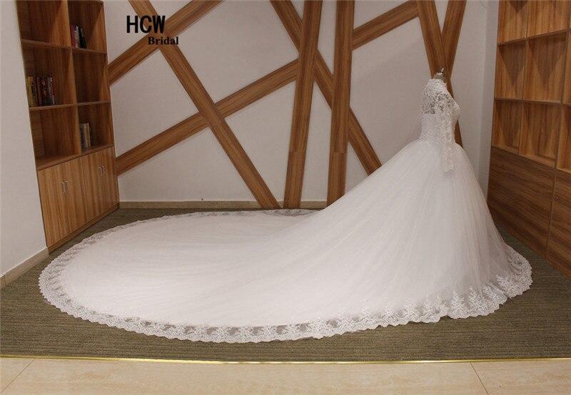 2 meter långt tåg muslimsk bröllopsklänning höghalsad - Bröllopsklänningar - Foto 3