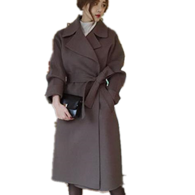 Autumn winter Women Coat Wide Lapel Belt Wool Coat Oversize Women Long belted wool blends coat