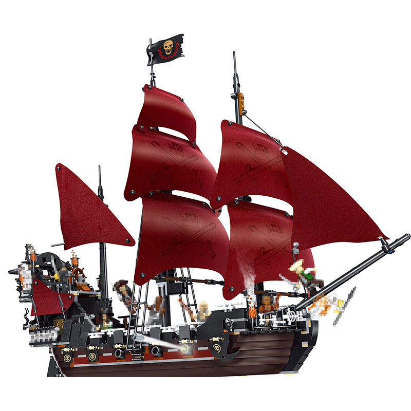New Technic Blocks Compatible Red Boat Pirates of the Caribbean Ship Queen Anne's Revenge Sailboat Toys 1222 Pcs new lepin 16009 1151pcs queen anne s revenge pirates of the caribbean building blocks set compatible legoed with 4195 children