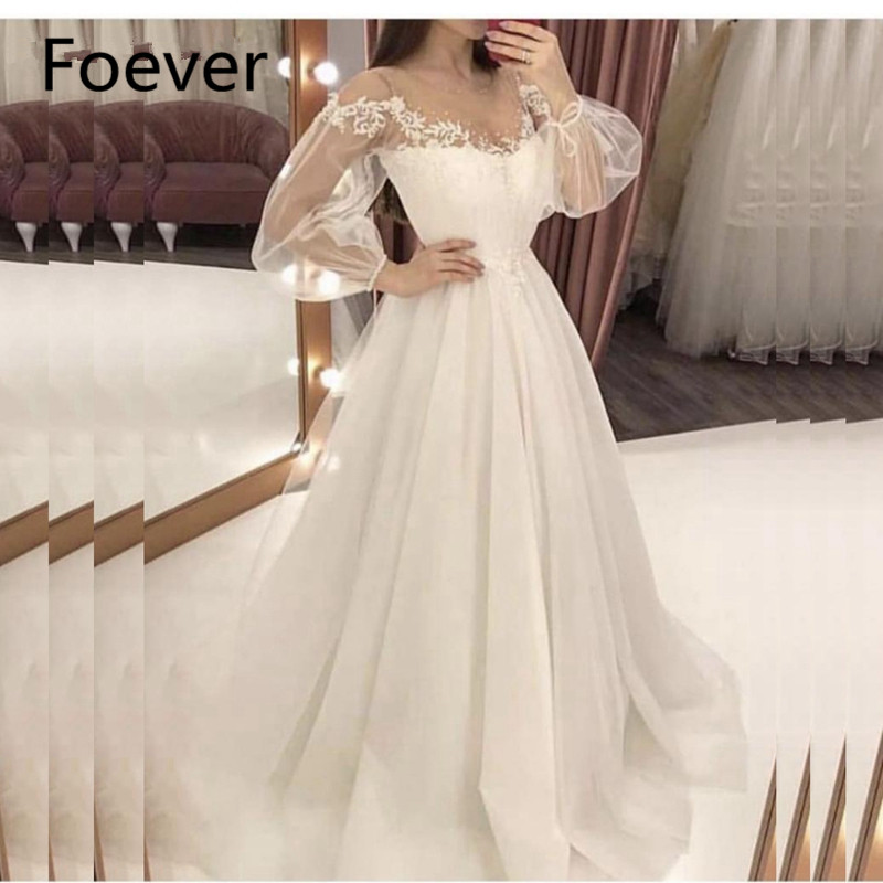 New Arrival Long sleeve evening dress Lace Beaded A-Line Formal dress party abendkleider 2019 Robe de soiree abiye evening Gown