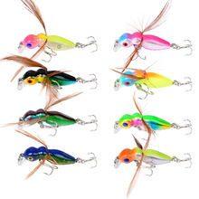 8Pcs/lot Popper Hard Bait Small Bee Insect Fishing Lures 45mm/3.6g Cicada Wings Wobblers Fish Tackle Topwater