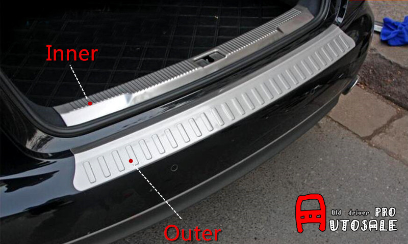 Stainless Chromium Styling Inner+Outer Rear Bumper Guard Plate Trim Exterior Car Styling 2pcs For Audi A6 C7 2012 2013 2014 2015 12pc canbus car led light bulbs interior package kit for 2012 2014 audi a6 c7 dome glove box trunk license plate lamp white