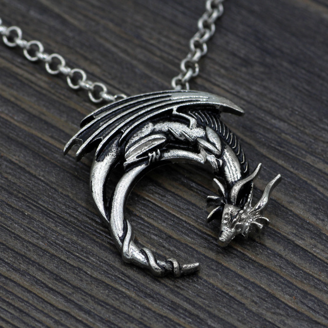 Dragon Necklace Preorder Winged Dragon On Moon Pendant Medieval