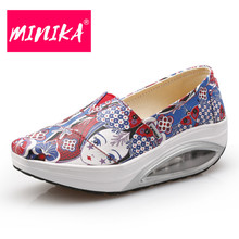 MINIKA Healthable Slip-On Women Soft Shoes Fashion Durable Mixed Colors Women Wedges Shoes Breathable Women Vulcanize Shoes