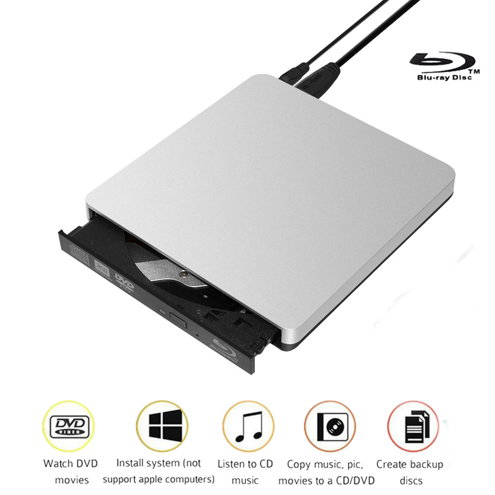 ABS Material External Blu-Ray Drive USB 3.0 Bluray Burner BD-RE CD/DVD RW Writer Play 3D Blu-ray Disc For Mac 10 OS Win Linux