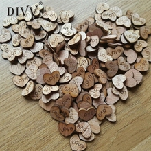 DIVV Top Grand Rustic Wooden Wood Love Heart Wedding Table Scatter Decoration Crafts 100Pc Dropship
