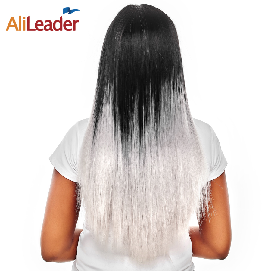 AliLeader Hair Products Blonde Red Green Ombre Wig With Adjustable Bangs, 150% High Density Ladies Synthetic Straight Hair Wig