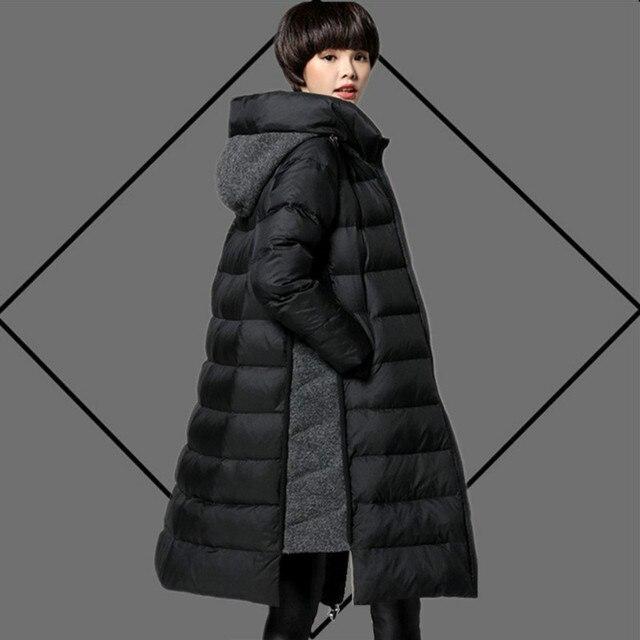 Плюс Размеры M ~ 5XL Для женщин Пуховики на гусином пуху с капюшоном 2017 Зима длинный толстый шерсть лоскутное женский Пальто и пуховики парка Высококачественная верхняя одежда