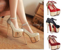 2016 new fashion rivets Sequins strappy ultra high heels platform wedding pumps sexy buckle party wedding