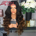 Brown Ombre Brazilian Full Lace Human Hair Wigs 150% Glueless Full Lace Wigs Virgin Hair Wavy Ombre Lace Front Human Hair Wigs