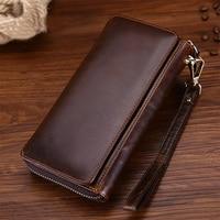 Vintage Men Oil Wax Genuine Leather Male Wallet Zipper Hand Bag Business Long Purse Card Dollars
