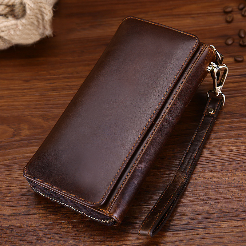 Vintage Men Oil Wax Genuine Leather Male Wallet Zipper Hand Bag Business Long Purse Card Dollars Holder Wristlet Clutch Wallets baellerry double zipper women business card holder wallet oil wax leather purse female name bank credit cards driver license bag