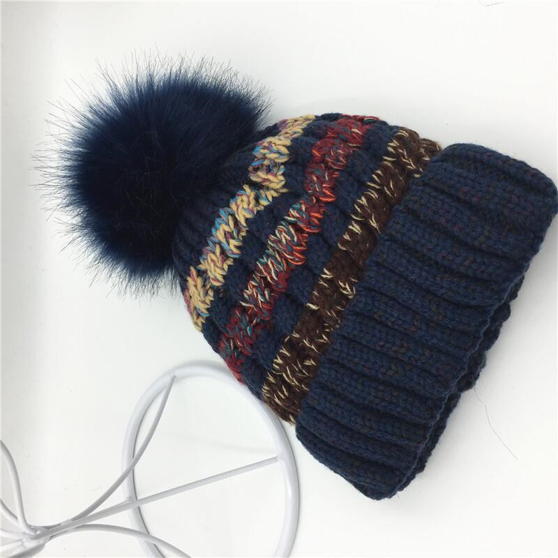 [aide chebi] Mink And fox Fur Ball Cap Pom Poms Winter Hat For Women Girl Hat Knitted Beanies Cap Brand New Thick Female Caps fetsbuy mink fur ball cap gray pom poms winter hat for women girl s wool hat knitted cotton beanies cap brand thick female cap