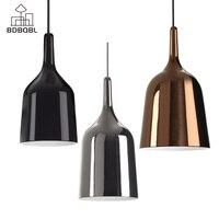 BDBQBL Modern Copper Bell Pendant Lights E27 90V 260V Bedroom Hanging Lamp Iron Originality Simple Study Parlor Pendant Lamp