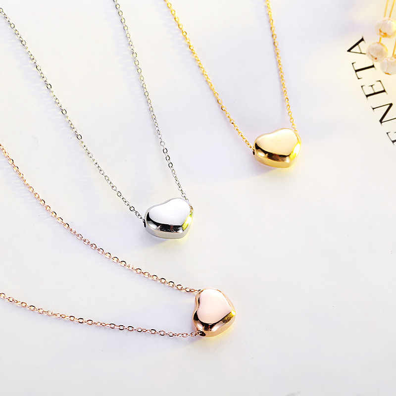 RE 2018 Fashion Simple Heart Necklace Women Silver Gold Rose Chain Choker Stainless Steel Jewelry Pendant Birthday gift A2240
