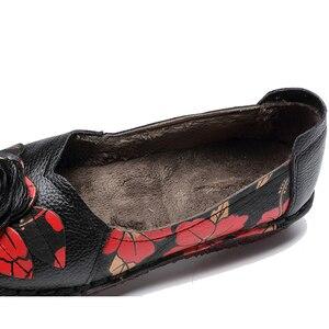 Image 5 - GKTINOO 暖かい本物のレザーシューズ冬秋の女性バレエフラットローファー女性フラット靴 Zapatos Mujer
