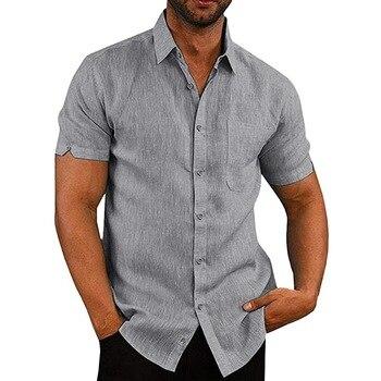 5202c8da8e3 SHUJIN 2019 camisas de hombre de manga corta sólida botón Casual Tops hombre  Streetwear suelto verano Slim Fit camisa transpirable Chemise