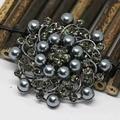 Fashion antique black shell pearl rhinestone vintage brooches crystal elegant big round flower pins  jewelry  AB