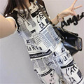 two piece set 2016 new fashion Leisure time printing Newspaper Anti wrinkle Thin 2 piece set women harajuku shorts t shirt women