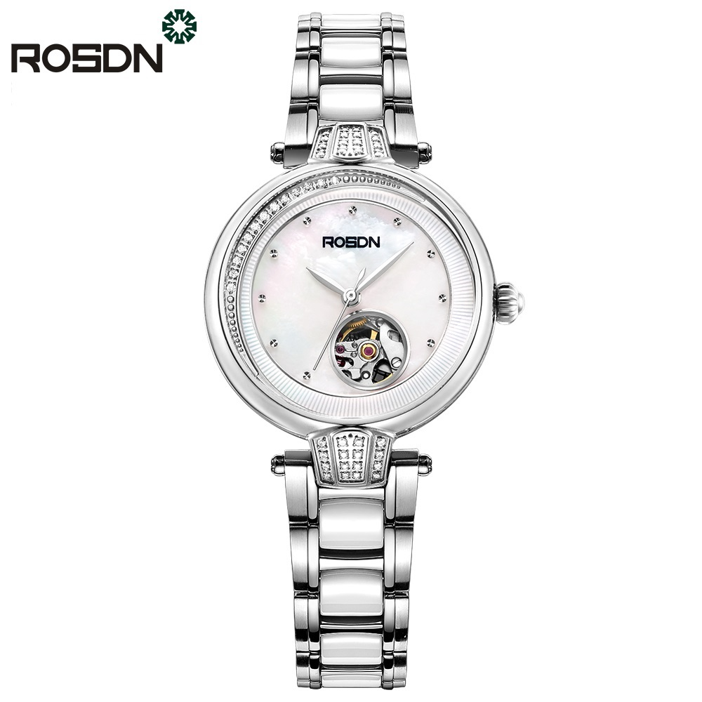 ROSDN Top Luxury Women Watches Automatic Mechanical wristwatch Steel Band Waterproof Dress Watch Woman Bracelet Gift Set Box