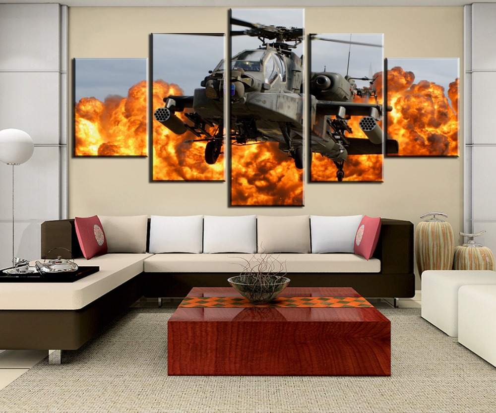 5 Pieces HD Print Painting Boeing Ah-64 Apache Helicopter Gunships For Modern Decorative Bedroom Living Room Home Wall Art Decor