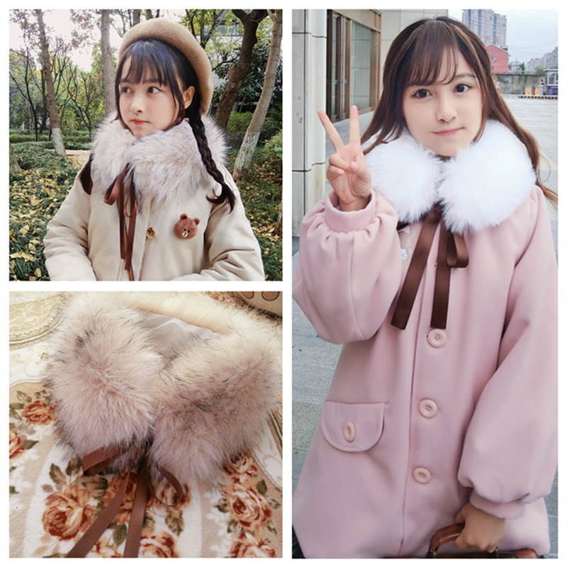 Womens Winter Cute School Style Fur Collar Warm Bib Bow Tie Fur Collar