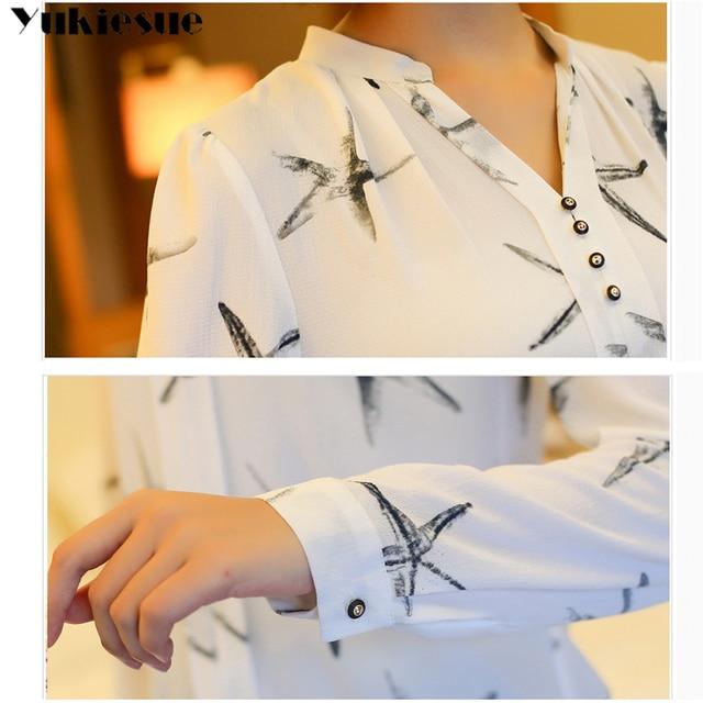 Summer 2019 Blouses Women's Tops Office Work Elegant Chiffon Shirts black Slim Blouse Casual Long Sleeve Plus Size White Shirt 6