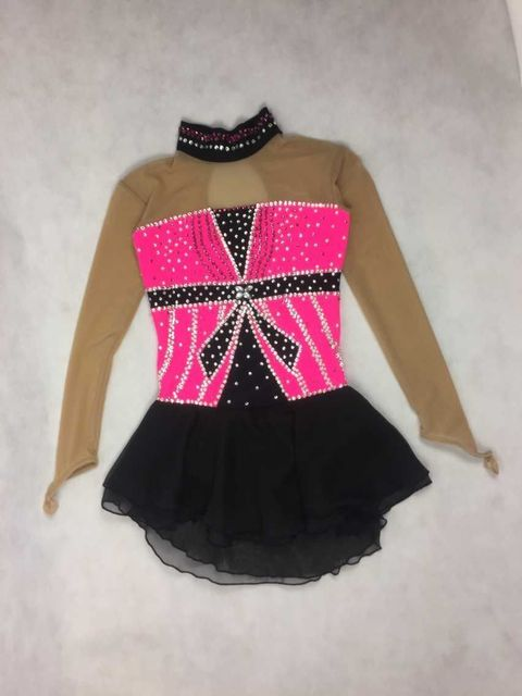 ice skating dresses kids competition figure dress for children pink children figure skating clothing custom free shipping