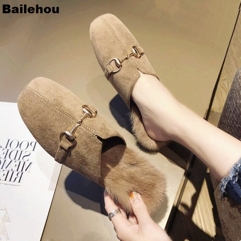 Bailehou Women Fur Slippers Flat Women Casual Shoes Suede Plush Mules Slip On Slides Outdoor Half Slippers Brand Buckle Shoe New все цены
