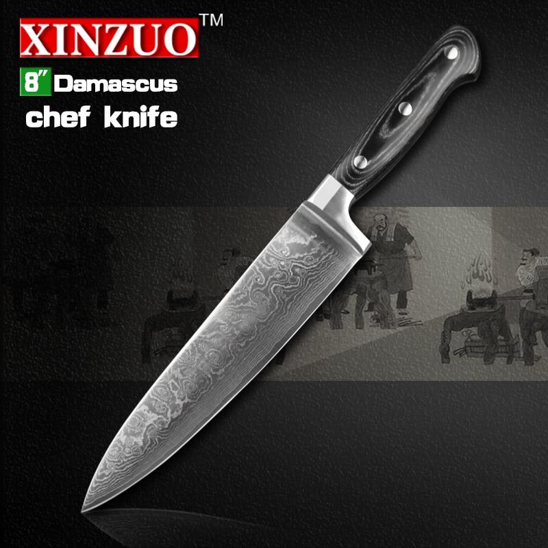 8 inch xinzuo chef font b knife b font 73 layers Damascus kitchen font b knife