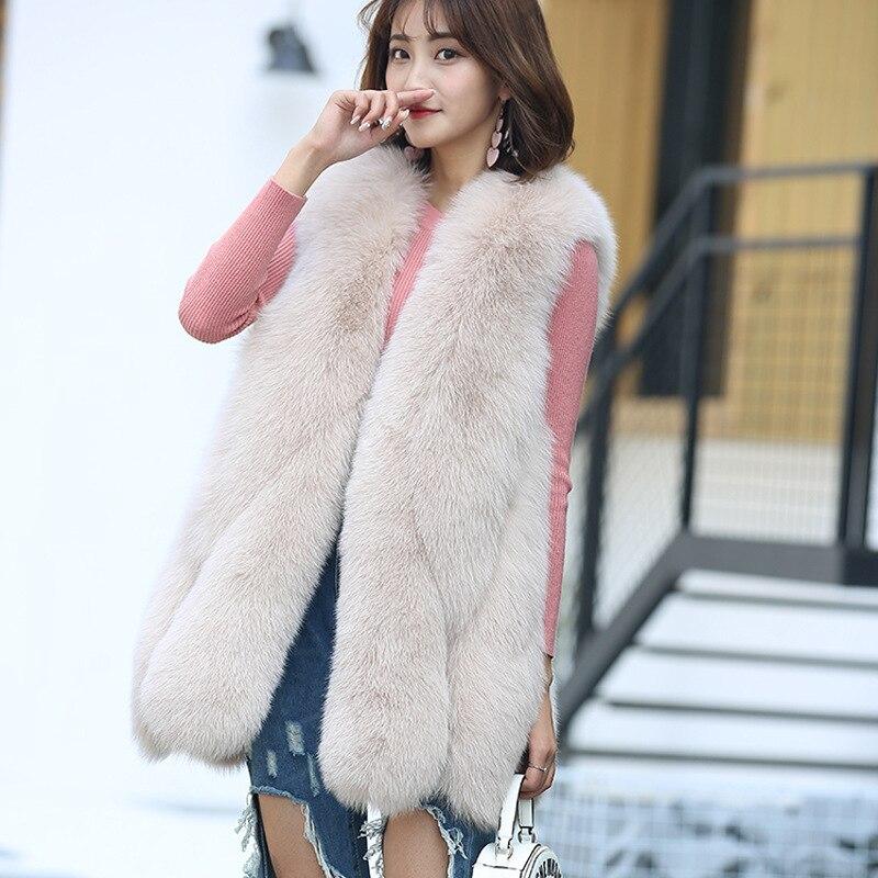 DAJANE haut de gamme 2019 hiver long faux renard fourrure gouttelettes épissage fourrure gilet gilet femme gilet manteau