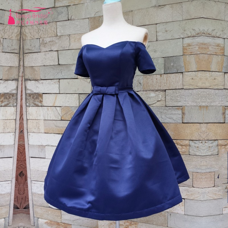 Off The Shoulder A Line Satin Royal Blue Homecoming Dresses Vestido De Formatura 8 Grade Graduation Dresses Short Sleeves