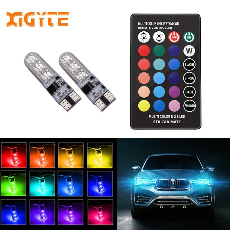 цена на Car RGB LED 12V T10 LED RGB 5050 SMD Signal Lamp Reading Wedge Light Car Interior Decorative Lights for Auto Remote Controller