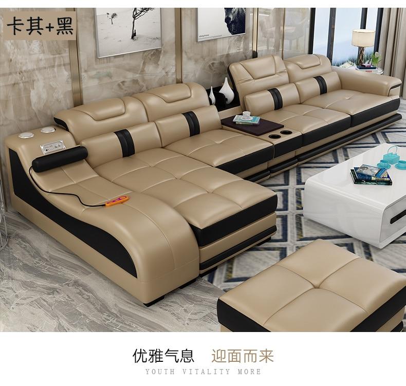 Sofa-Set Corner Living-Room Minimalist Sectional Genuine-Cow-Leather Casa Para Real Moveis