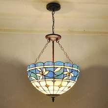 16-inch Continental Kapok retro nostalgia colored chandelier with Tiffany glass bar living room restaurant bedroom lighting