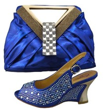 Royal Blue Wedding Shoes And Matching Bags Set For Party High Quality Women Sandal African Italian Shoes With Bag Set 1308-402