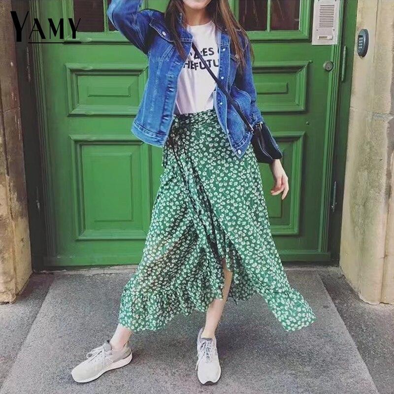 Spring 2018 boho long skirts womens ruffle green floral print vintage wrap high waist skirt streetwear