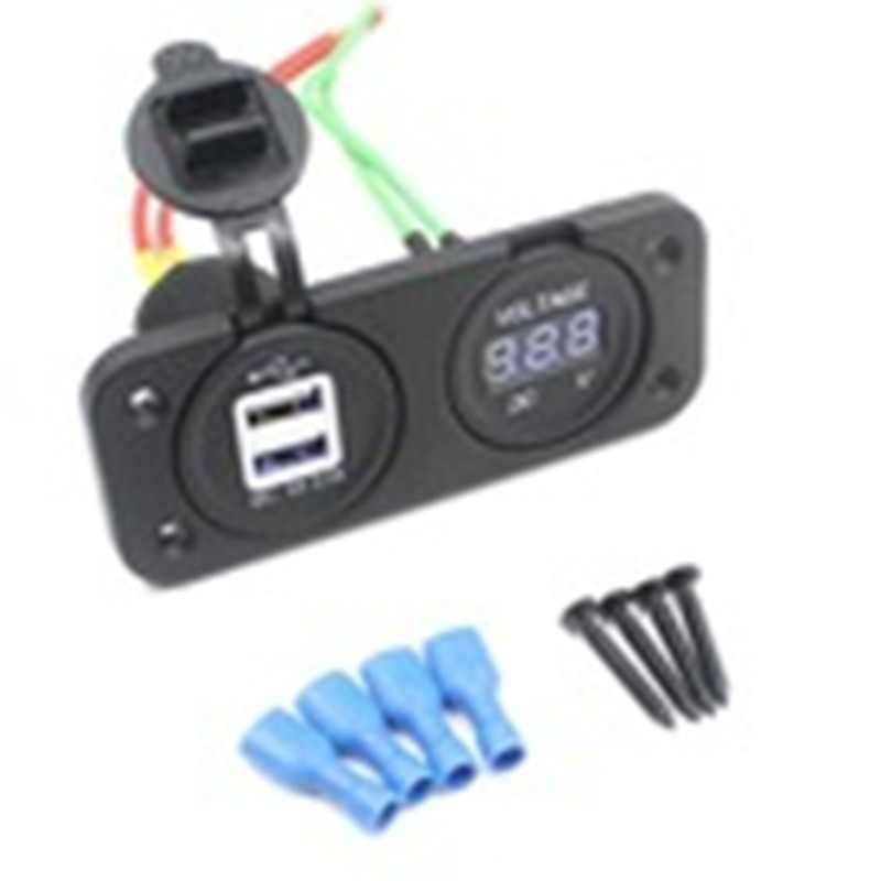 CS-247 2-in-1 Waterproof 12-24V Car Motorcycle Boat Dual USB 3.1A Power Adapter Charger & LED Digital Voltmeter Socket Combo