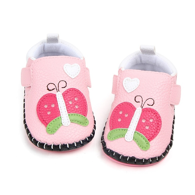 Newborn Baby Cute Shoes First Walkers Cartoon Animal Print Baby Boy Soft  Sole Shoes Infant PU Leather Crib Shoes 0-18 Months d462d03a66db