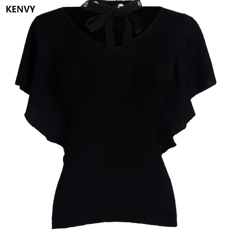 V souris Fold Manches Kenvy cou Luxe Chauve Femmes Chandail Marque De Haut Gamme Dames Mode Cravate 6R6x8TwP