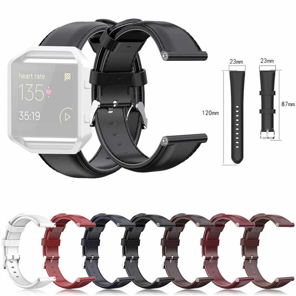 עמיד שמן שעווה עור להקת שעון קלאסי מתכת אבזם בוגר חיוניות גברים נשים רצועת אביזרי עבור Fitbit Blaze 23MM
