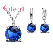 Купить с кэшбэком GIEMI Top Quality Real 925 Sterling Silver Wedding Jewlery Sets Women 5A Cubic Zirconia Round Pendant Necklace Hoop Earring Sets