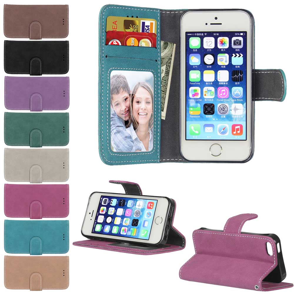 E-SKY for Apple iPhone 5 5s SE case for iphone 4 4s case 3 card slot wallet cover for iPhone4 for iphone5 flip matte PU cases