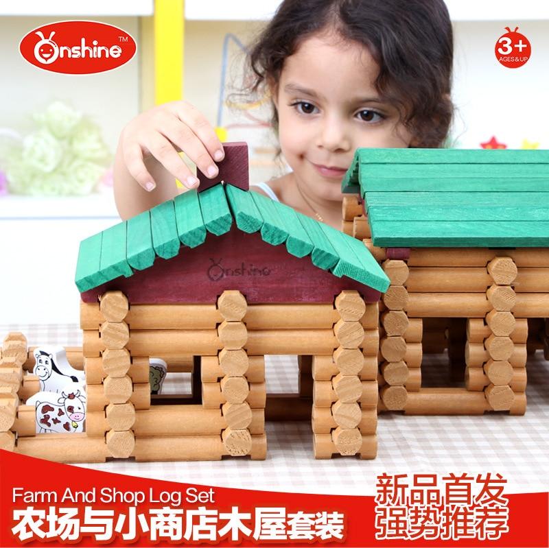 Onshine jouets pour bébés 170 pièces En Bois blocs de construction Ferme et boutique journal ensemble Jouets Magasin Général Treehaus Bois cadeau d'anniversaire
