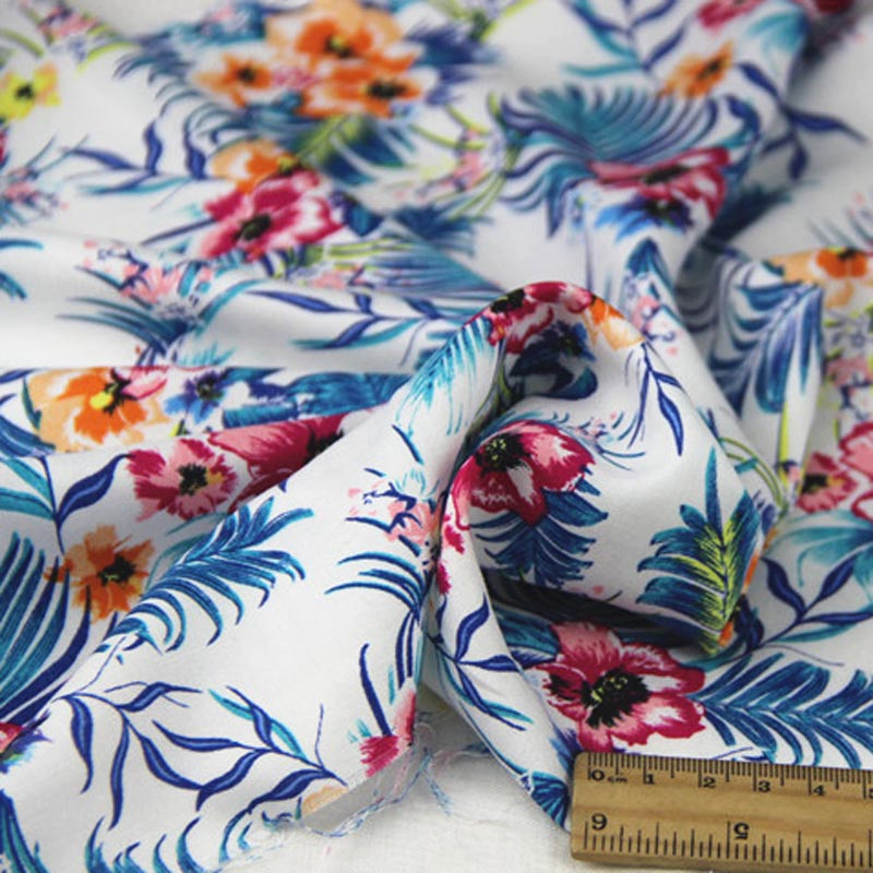 100% rayon fresh WHITE big blue leaves fuchsia orange flowers floral fabric soft delicate for DIY summer apparel blouse dress