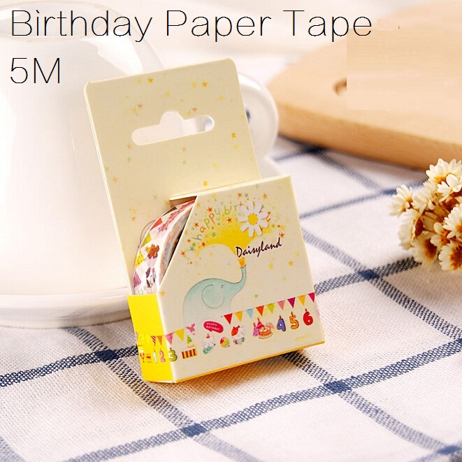 Hot sale sweet design good quality wholesale Happy Birthday series Adhesive tape Masking paper tape wholesal longe .cute lo
