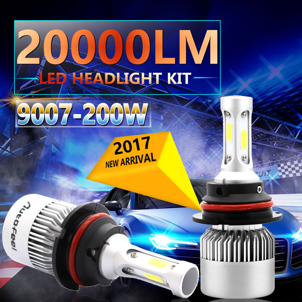 2pcs 9007 6500K HB5 COB DC 9-30V 200W <font><b>LED</b></font> <font><b>Headlight</b></font> Kit High Low Beam Light Bulbs <font><b>360</b></font> degree lighting image
