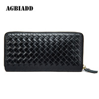 AGBIADD Business Solid Purse Men Long Wallet Knit The First Layer Of Leather Male Clutch Organizer