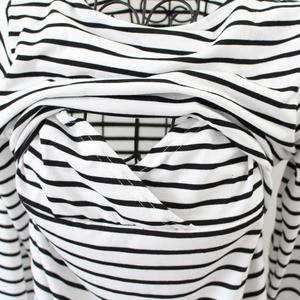 Image 5 - Maternity Clothing Spring Fashion Casual Striped O Neck Collar Long Sleeve Nursing Top Breastfeeding  For Pregnant Women
