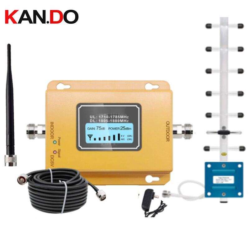 GSM LTE 1800 LCD 70dB Gain 2g 4g répéteur de Signal de téléphone portable DCS 1800MHz amplificateur de Signal Mobile GSM avec ensemble d'antenne